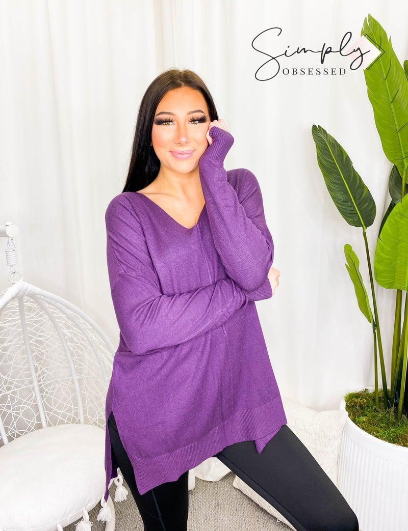 Garment dyed hi low hem front seam sweater(plus)
