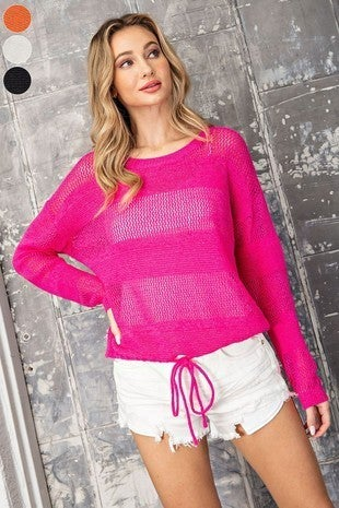 EE:Some - Striped Pointelle Knit Sweater