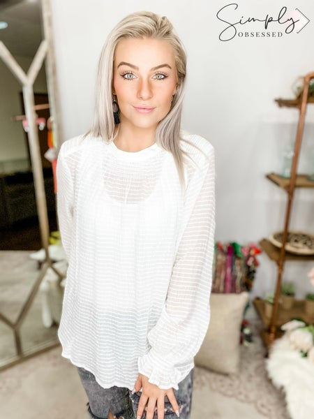 Doe & Rae-Long Sleeve Shirt With Ruffle At End Of Sleeves