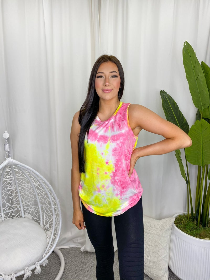 WHITE BIRCH-Sleeveless Tie Dye Knit Round Neck Top