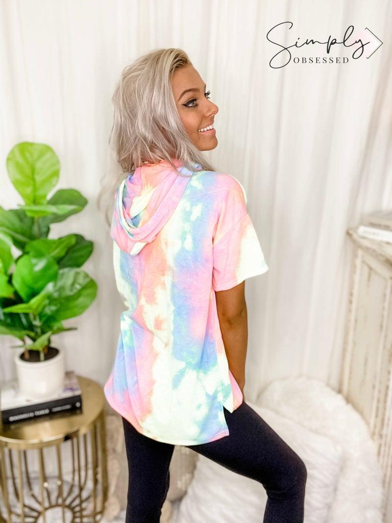 vanilla bay-A tie dye knit short sleeve hoodie top lounge wear
