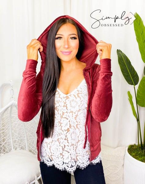 Hyfve - Velour zip up hoodie