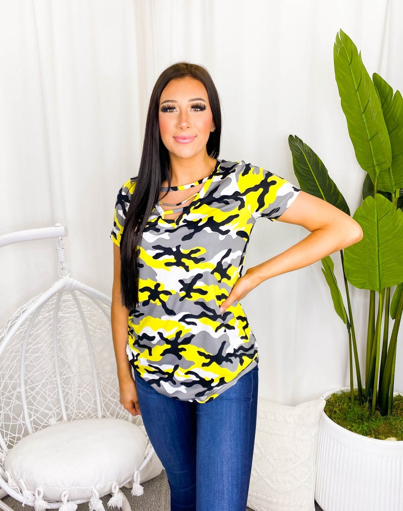 FLAMINGO-A Short Sleeve Top with Caged V Neck