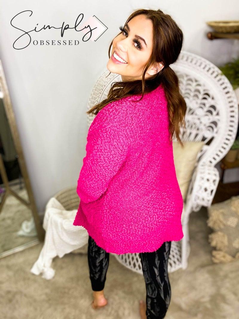 Popcorn knit sweater cardigan(plus)