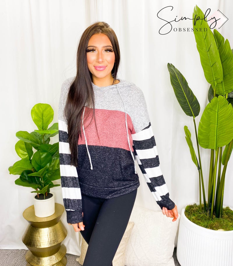 Grateful Hearts - Long sleeve color block striped hooded top