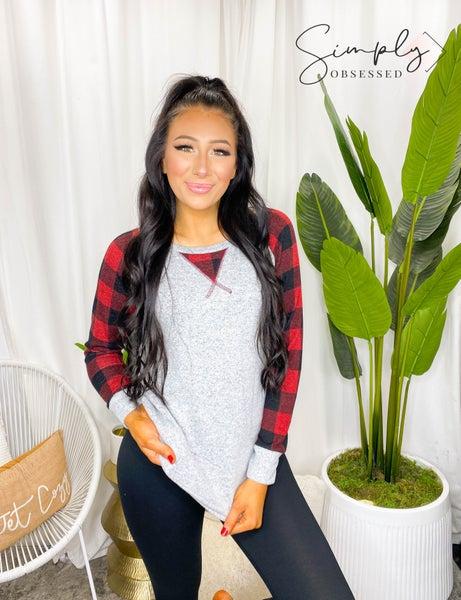 Vanilla Bay - Long Sleeve Gingham Plaid Raglan Brushed Tunic Top