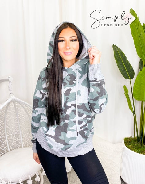 Mazik - Loose fit distressed camo hoodie top