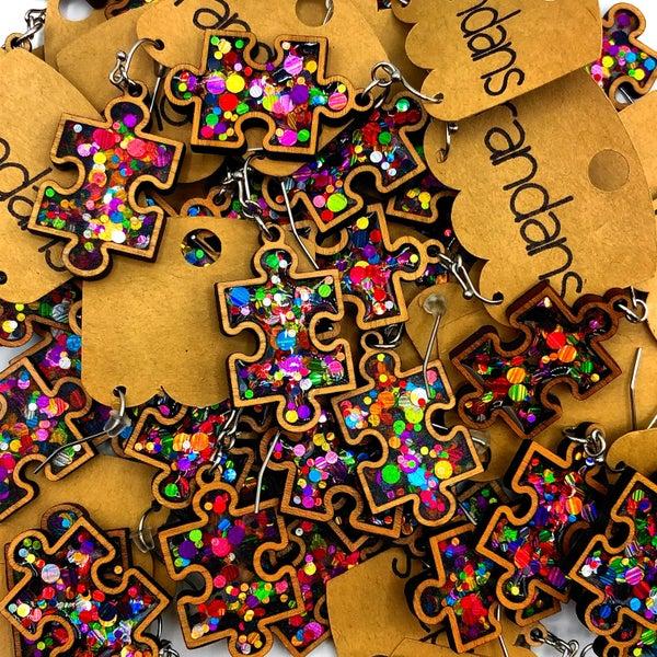 RANDANS  - Wooden Confetti Puzzle Piece Earrings