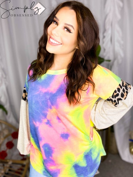 BiBi-TIE DYE TERRY TOP WITH CONTRAST PUFF SLEEVES