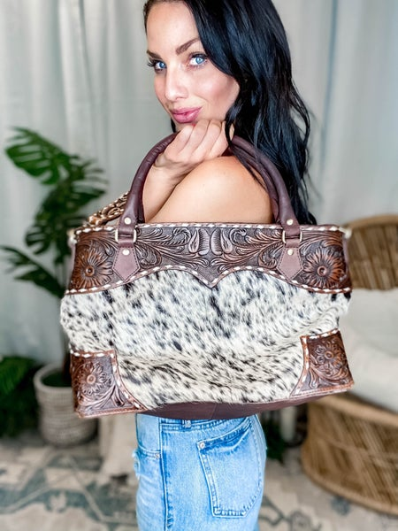 American Darling - Hand Carved Cowhide Tote w/Patch Detail