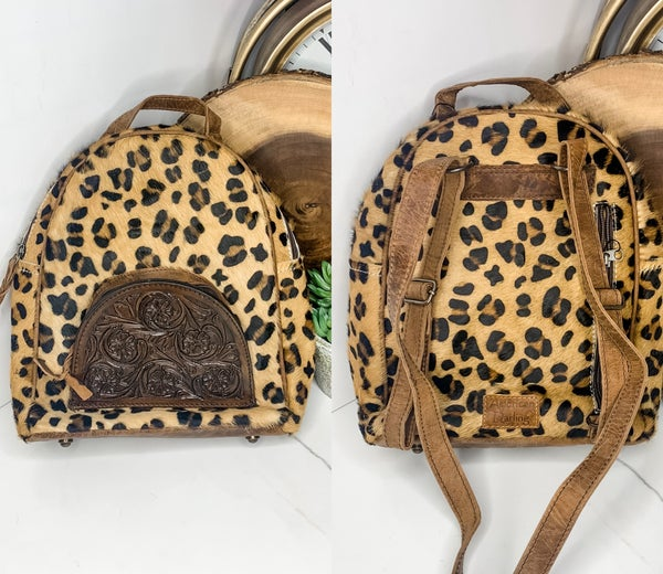 American Darling - Cheetah print leather work back pack