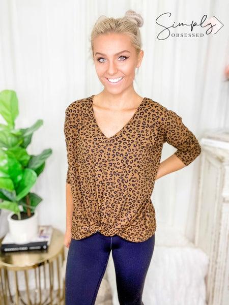 White Birch - Cheetah Print Knit Top