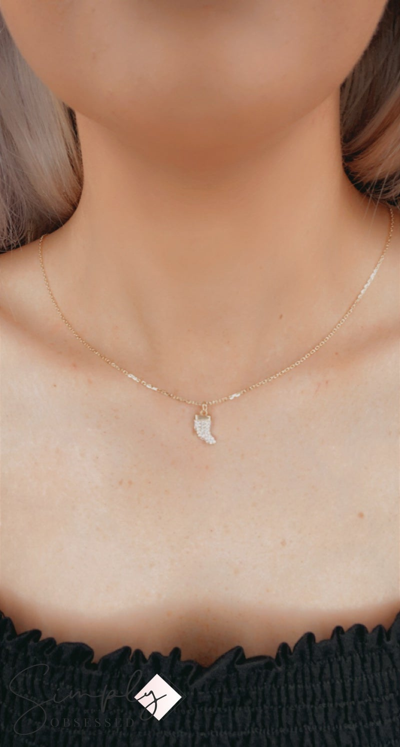 Silver Forte - Gold CZ Horn Necklace