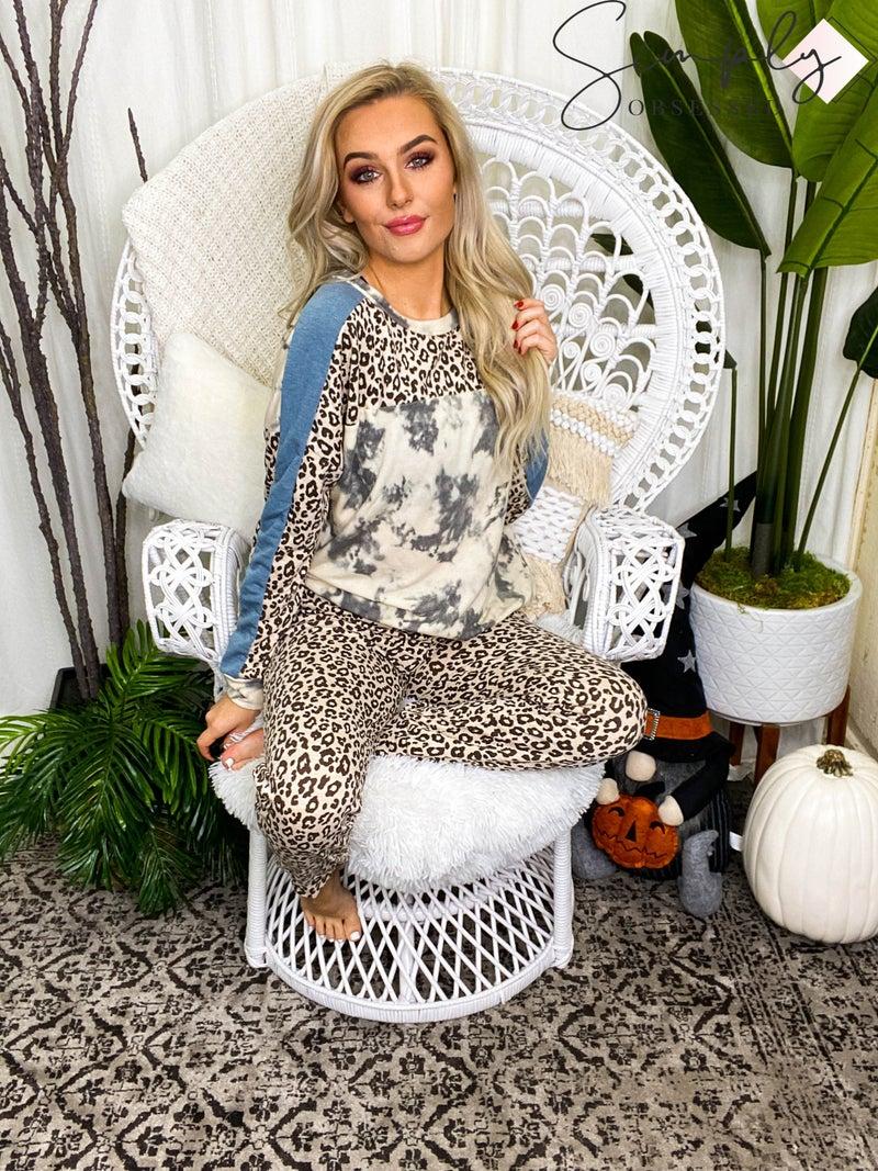 White Birch - Cheetah print knit 2 piece set(All Sizes)