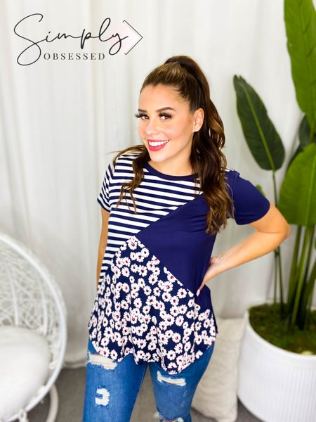 Sew In Love - Short sleeve color block floral and striped top (plus)