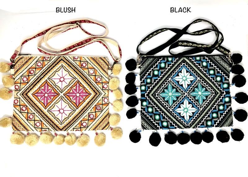 Cross Body Messenger Bag w. Puff Detail