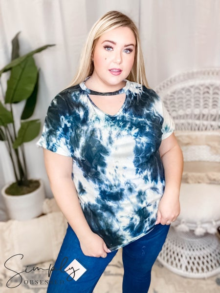 Blumin - Tie dye printed keyhole detail short sleeve top(All Sizes)