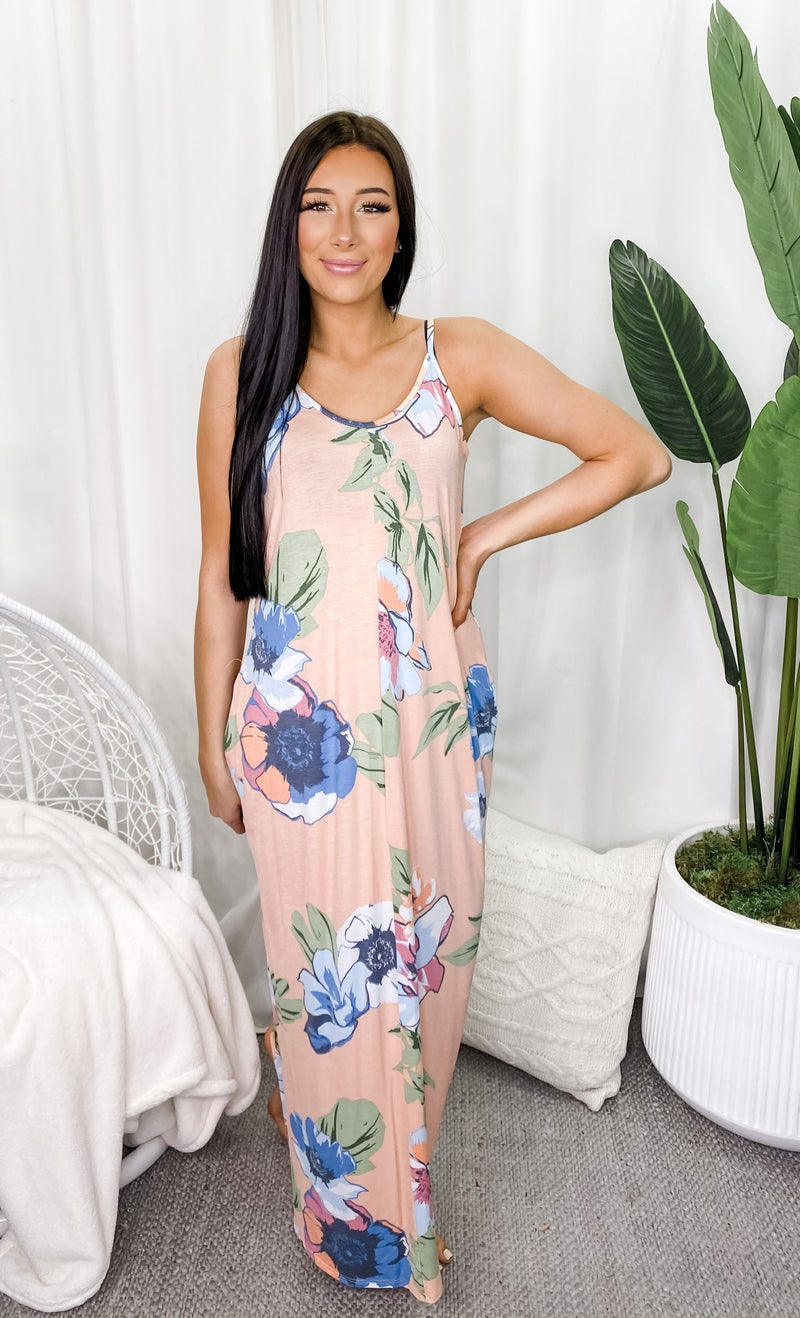 5BESTIES-Floral Print Boho Dress With Side Pocket