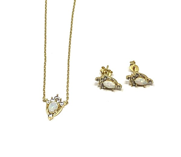 Gold Opal CZ Accent Earring Necklace Set