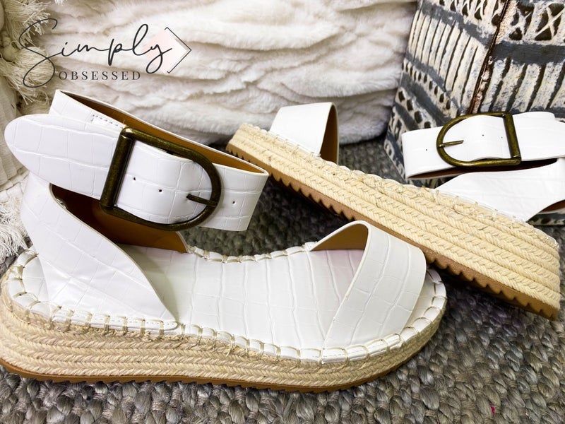 QUPID-espadrille sole, single toe-band, adjustable ankle strap, and bronze buckle details