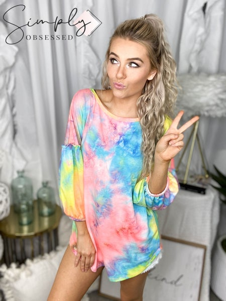 First Love - Long sleeve tie dye top with ruffle sleeve detail