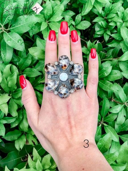 M & S - Cowrie w/ Opal Flower Ring