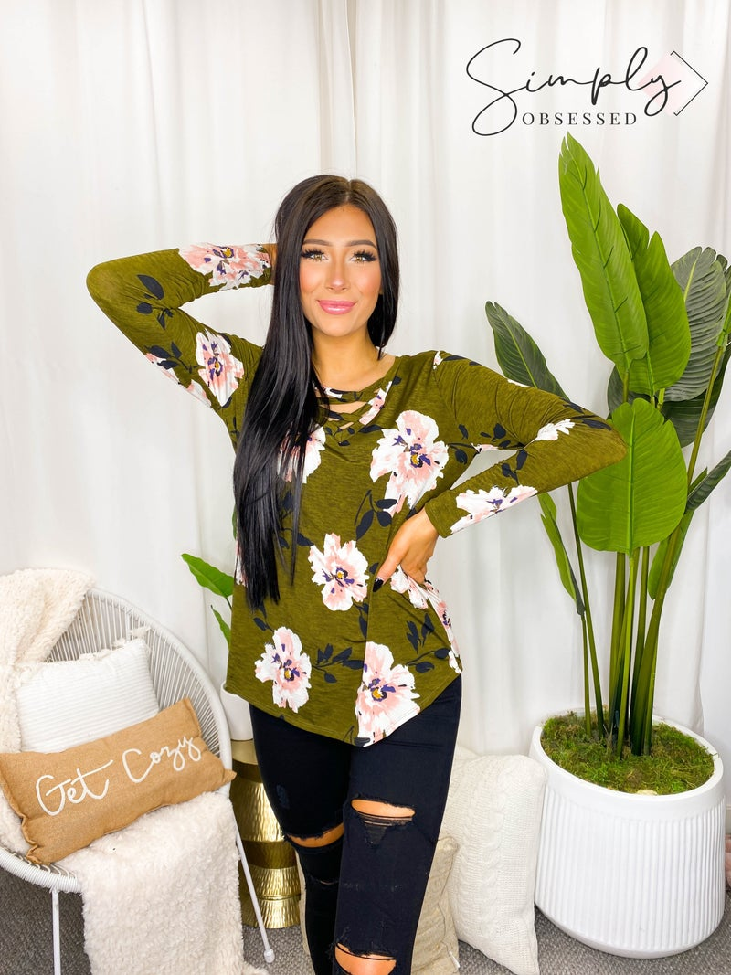 Sew In Love - V Neck Long Floral Top