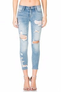 Cello - Distressed ankle cropped skinny jeans