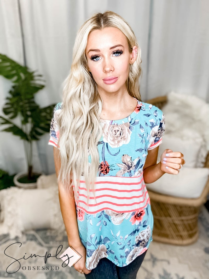 Sew in Love -  Floral Print Top with Middle Stripes