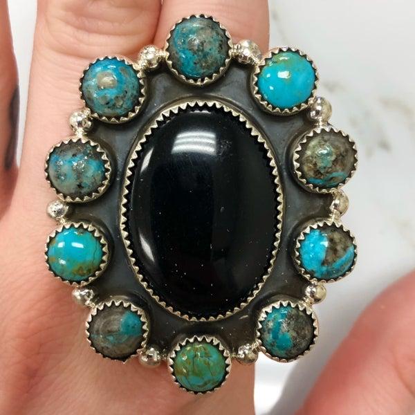 M&S - Black Onyx + Turq Cluster Ring