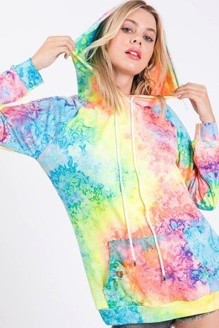 BiBi - Tie dye print knit hoodie with kangaroo pocket