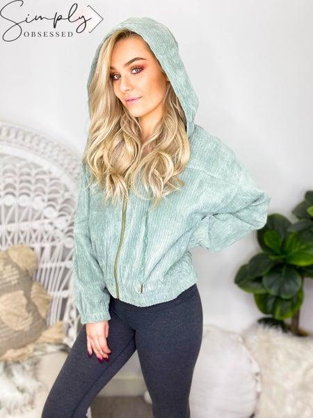 Allie Rose - Solid Textured Velvet Hooded Bomber Jacket