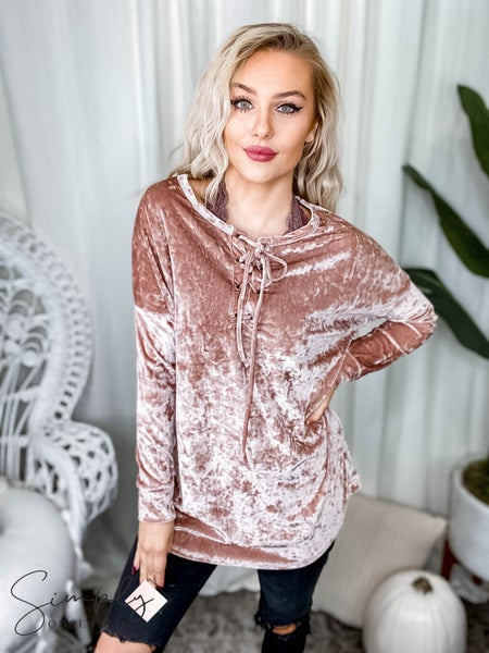 First Dibs Hailey & Co. -  crushed velvet big eyelet criss cross detail boxy top with sleeve band