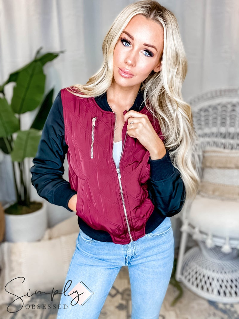 Love Tree - Quilted cropped bomber zip up jacket