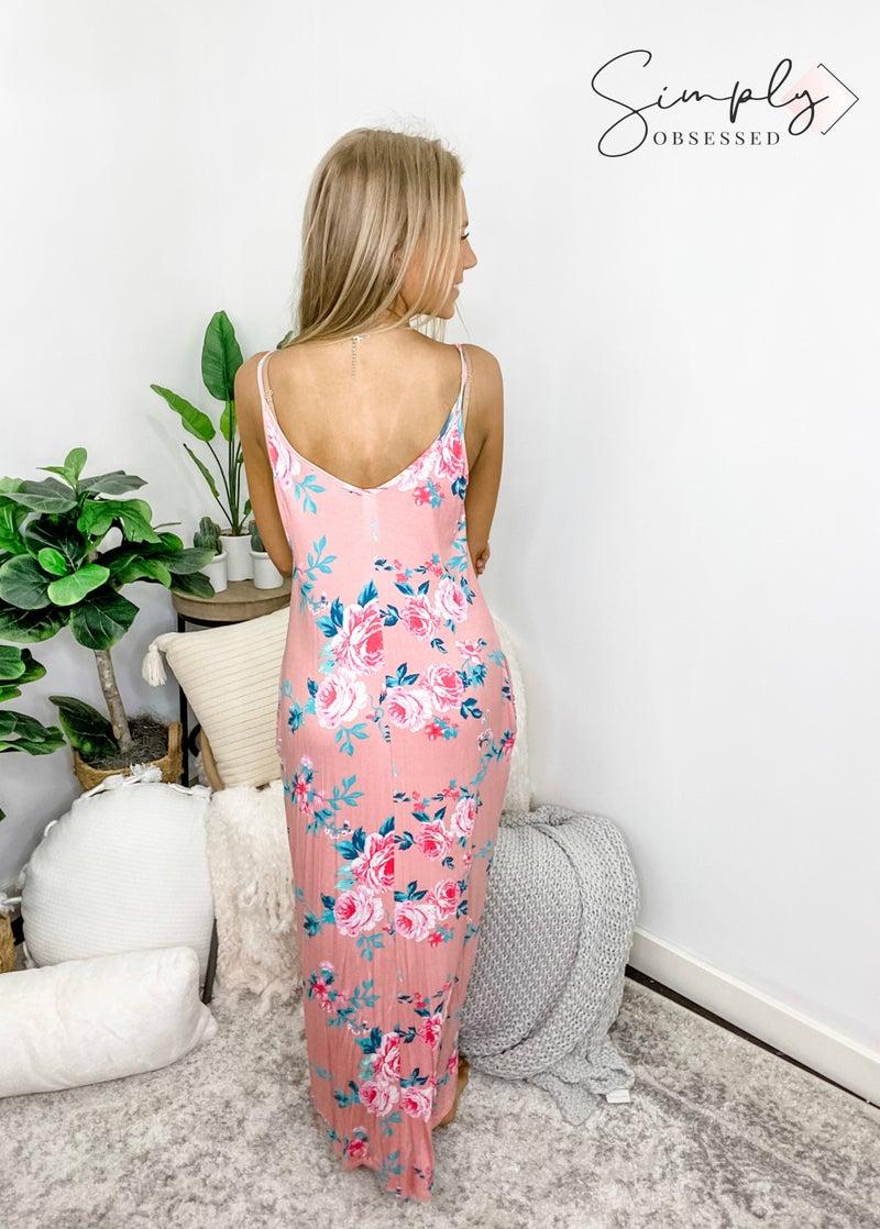 5BESTIES-Rose Floral Print Boho Dress With Pocket