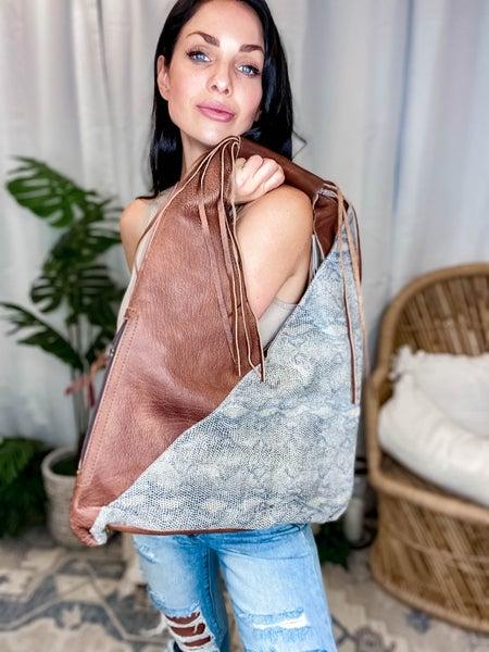 American Darling - Snakeskin Design Shoulder Bag w/Fringe Detail