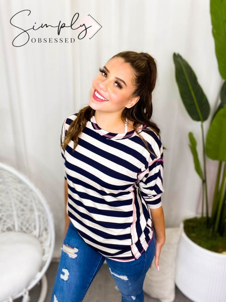 Honeyme - 3/4 sleeve stripe and stitch detail top(plus)