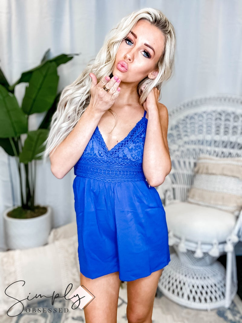 Vanilla Bay - Solid crochet detail romper with tie detail on back