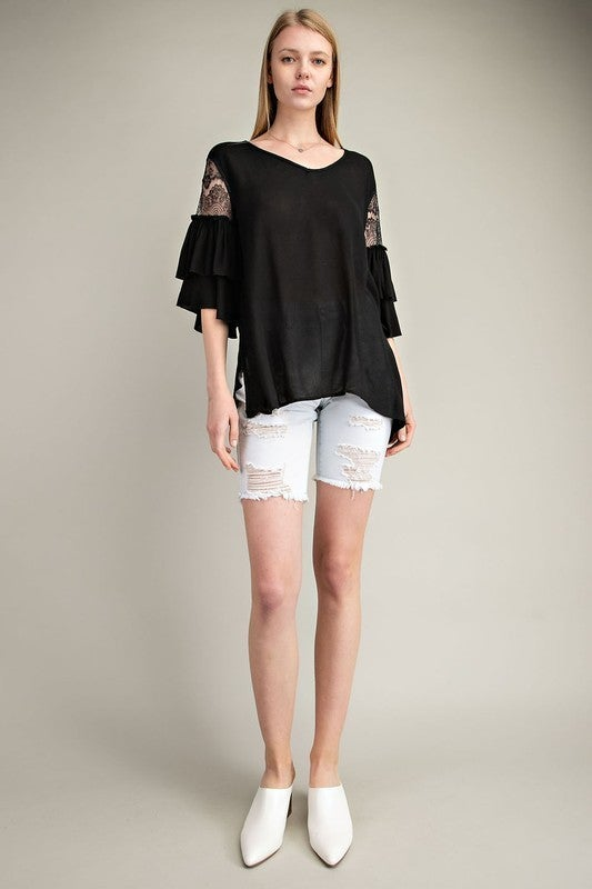 Mittoshop - Crepe gauze v neck laced ruffle sleeve woven top