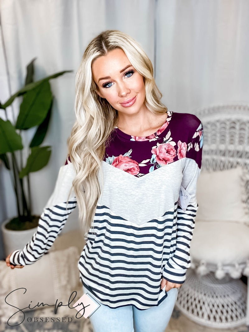 Vanilla Bay - Long sleeve knit top with v shape color block and floral print