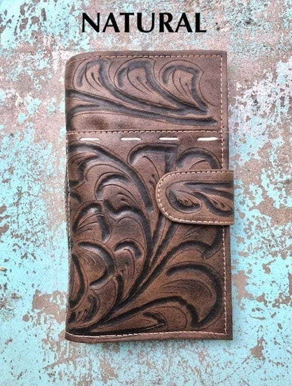 LEADERS IN LEATHER - Handtooled Wildflower Leather Wallet w/Cell Pocket