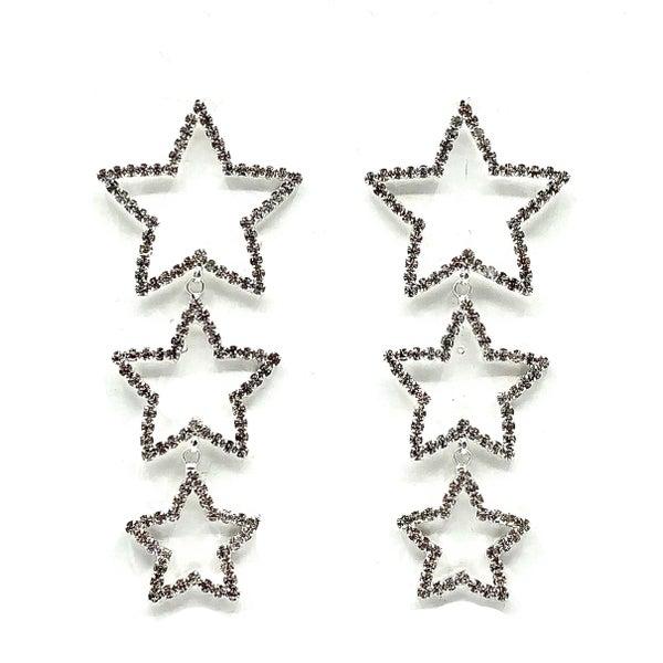 3 Star Outline CZ Dangle Earrings