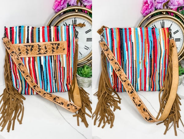 American Darling - Knit crossbody bag with fringe