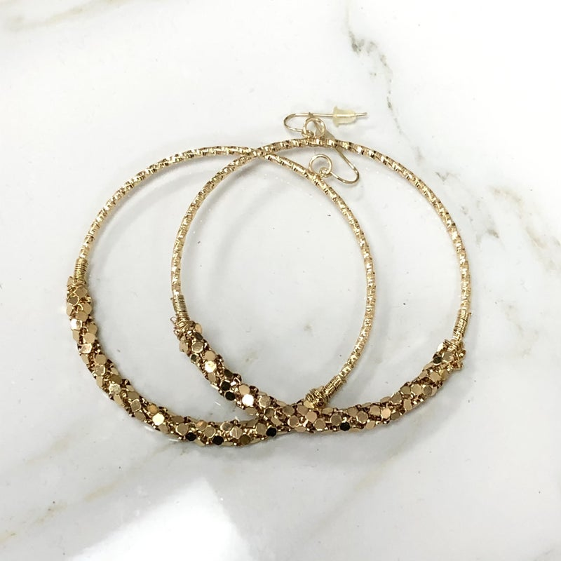 The Encore Fashion Group - Large Gold Spiral Chain Mail Detailed Hoop Earrings
