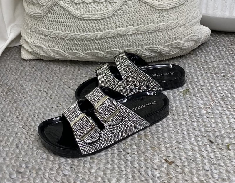 WILD DIVE-DOUBLE STRAP SLIP ON SANDAL WITH JEWEL DETAIL