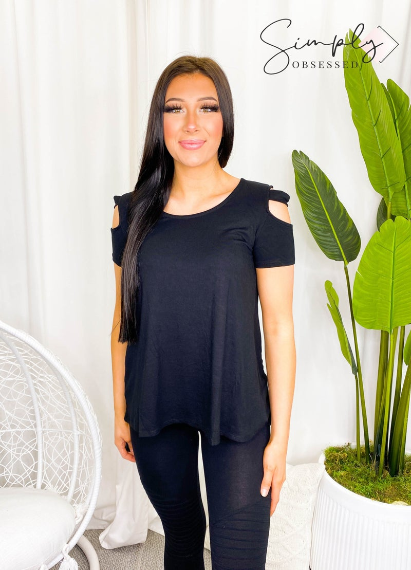 White Birch - Short sleeve knit top with shoulder cutout details