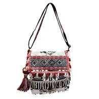 Chloe & Lex - Black Red Fringy Crossbody Bag