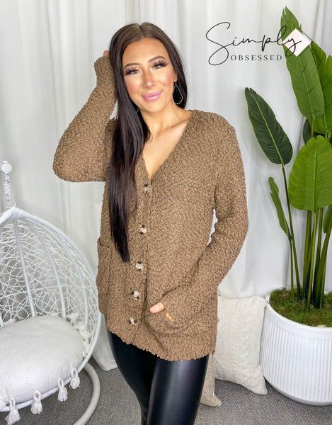 Long sleeve popcorn button down cardigan with pockets