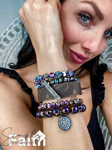 UpCycled - Purple Multi Bracelet Set w/Charm