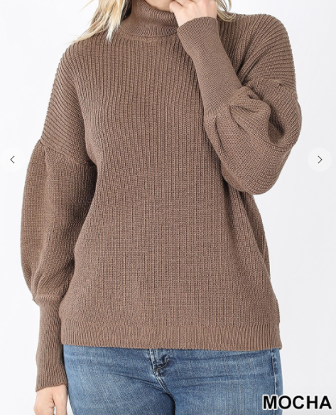 Puff sleeve turtle neck sweater